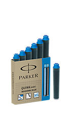 Ống mực viết máy Parker loại ngắn màu xanh (6 ống/vĩ)